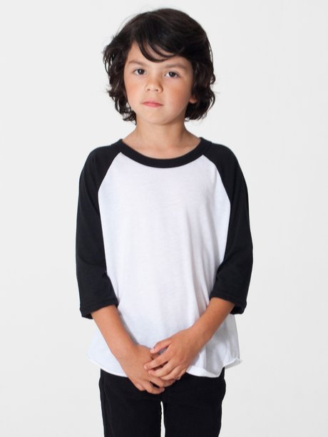 cf5a933e4 american apparel, bb153, kids poly-cotton 3/4 sleeve raglan - none