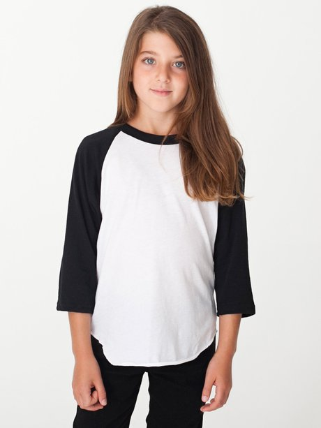 428cc8f11 american apparel, bb253, youth poly-cotton 3/4 sleeve raglan - none