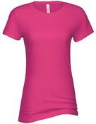 alstyle, 5562, juniors sheer jersey full length tee - none | hot pink