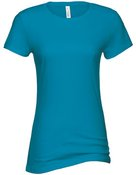 alstyle, 5562, juniors sheer jersey full length tee - none | turquoise